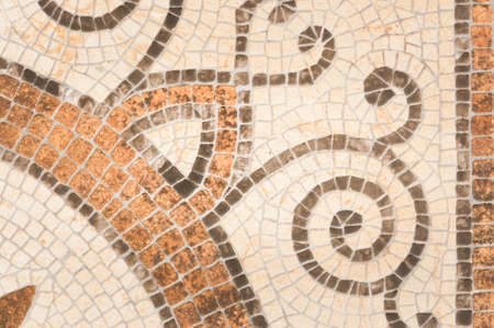 mosaic floor: Mosaic tile background. Mosaic floor in antique style. Stock Photo
