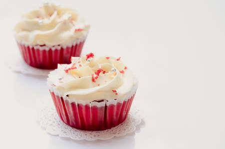 red velvet cupcake: Red velvet cakes on white board