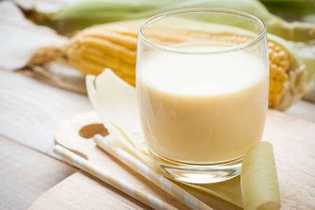 food products: fresh sweet corn juice (corn milk) Stock Photo