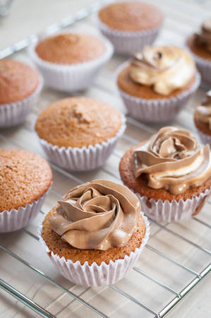 cupcakes: cream cheese and coffee cupcakes Stock Photo