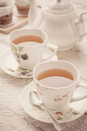 tea service: Afternoon tea, Beautiful tea service on wooden table