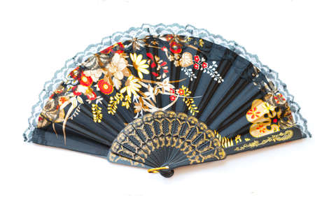 oriental chinese fan isolated on white background