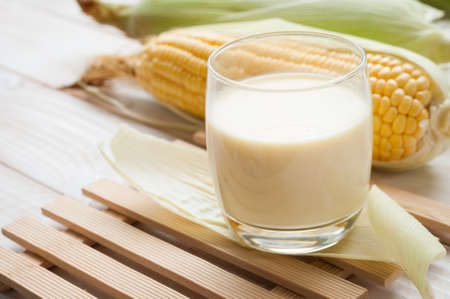 fresh sweet corn juice (corn milk) Stock Photo