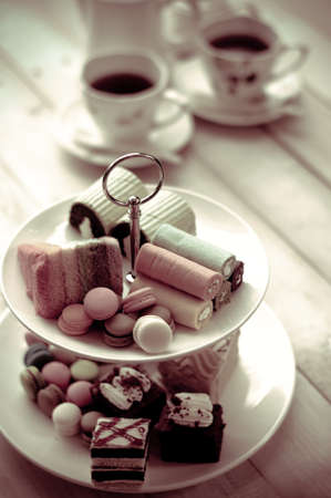 cake stand with desserts Stock Photo