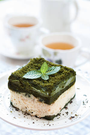 cream cakes: Japanese confectionery, green tea cake, Japanese Matcha Green tea cake Stock Photo