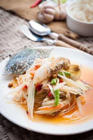 poo: spicy papaya salad with blue crab, som tum poo ma, thai food