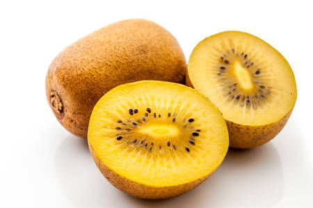 Yellow kiwi fruit on a white background