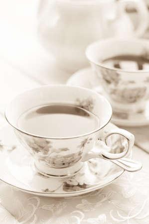 Antique tea cup full of tea