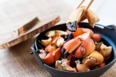 the claws: Boiled crab claws Stock Photo
