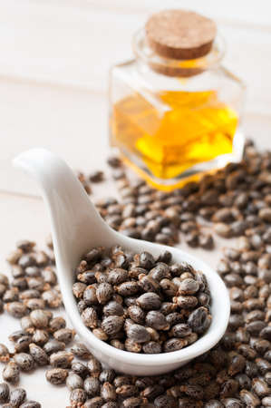 triglycerides: Castor oil with beans on wooden surface Stock Photo