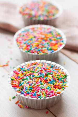 Sugar sprinkle dots, decoration for cake and bekery, a lot of sprinkles