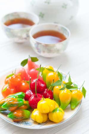 Deletable imitation fruits ,Thai dessert made from stirred bean