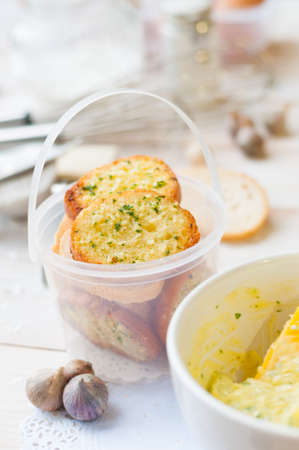 buttered: garlic bread Stock Photo