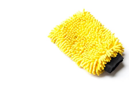 Yellow car cleaning glove