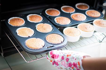 baking sponge cakes in oven