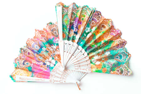 Chinese hand-held fan isolated on white background