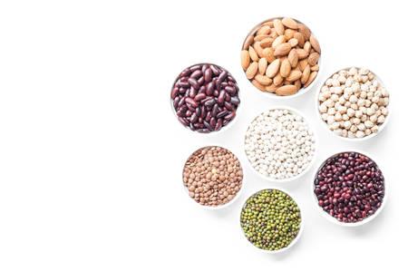 Beans, grain in ramekin in top view Stock Photo