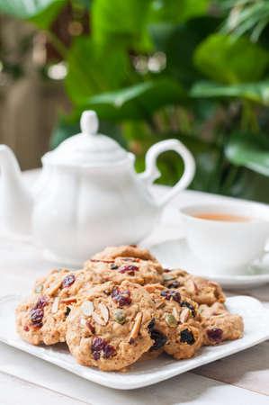Pumpkin, oat, cranberries and almond cookies