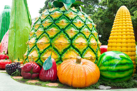 fiberglass pumkin and others fruit placed on ground