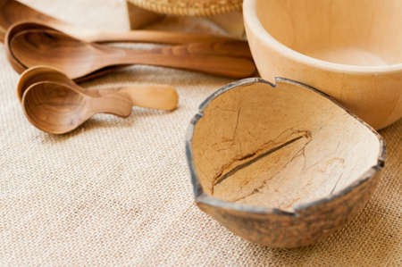 coconut shell kitchenware in thailand Stock Photo