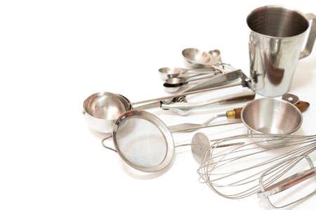 Kitchen utensils isolated on white background Stock Photo