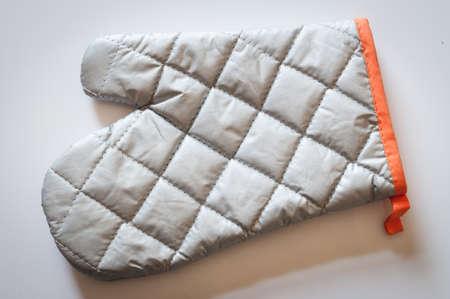 Grey metallic heat protective mitten texture