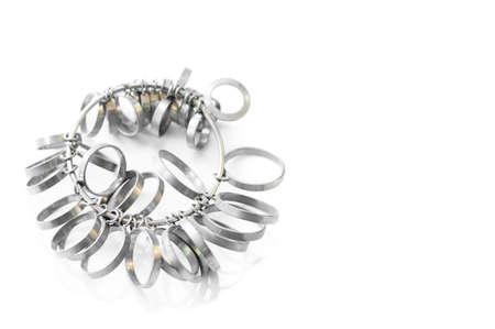 Jeweler finger sizing tools.Ring Gauge,Ring Measure isolated on white background