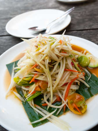 Papaya salad or Som tum, Thailand famous food