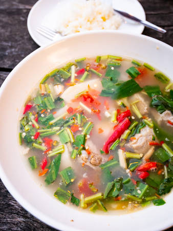 Pork in spicy soup, Thailand food