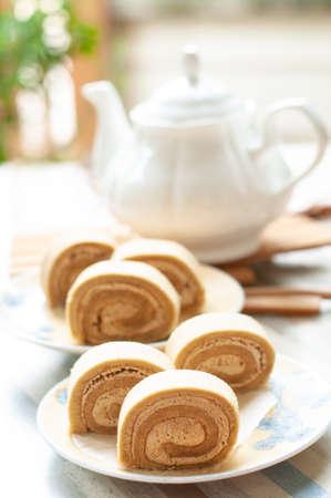 Swiss chestnut roll cake