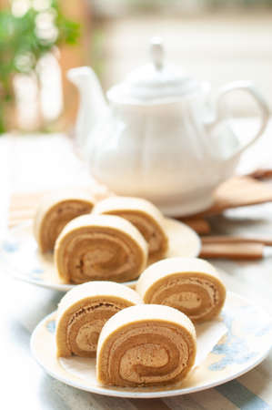 Swiss chestnut roll cake