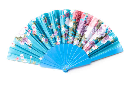Blue chinese fan with flower pattern isolated on white background