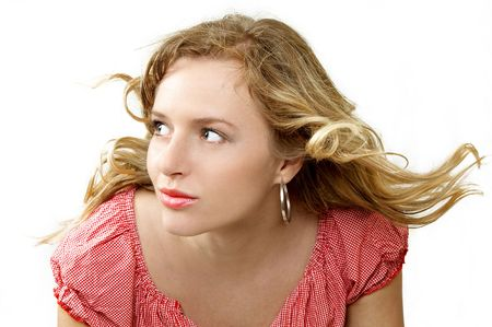 Beautiful girl with blown hair separate on white Stock Photo - 908801
