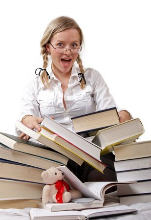Schoolgirl or student and rolling-over books. Stock Photo - 908803