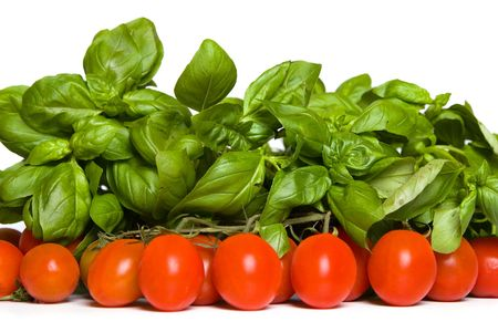 tomato and basil, separate on white