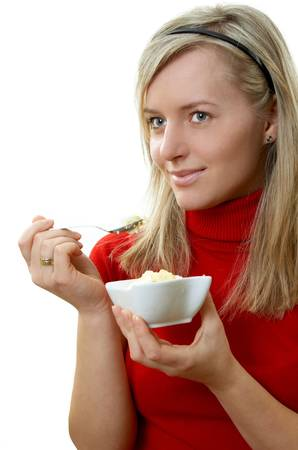 sweetly: beautiful girl eating ice cream, separate on white