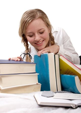 schoolgirl or student looking at books, separate on white