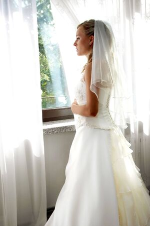 girl is waiting for her future husband before marriage ceremony,