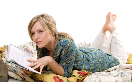 woman is reading book, separate on white photo