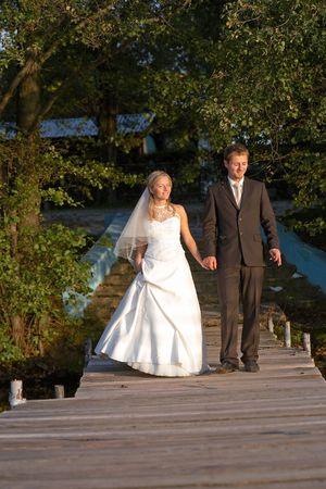 wedding steam on lake photo