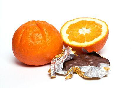 titbits: Chocolate or orange. Saparate on white.