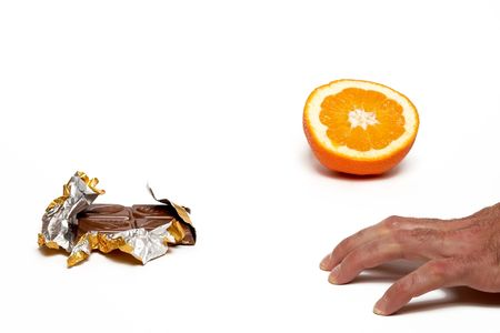 titbits: What to choose? Chocolate or orange. Saparate on white. Stock Photo