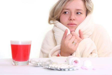 ill woman and pills photo