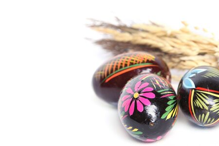 hand painted easter eggs seprate on white