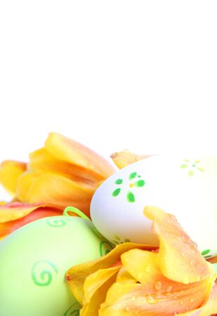 green easter eggs with orange tulips Stock Photo - 2702771