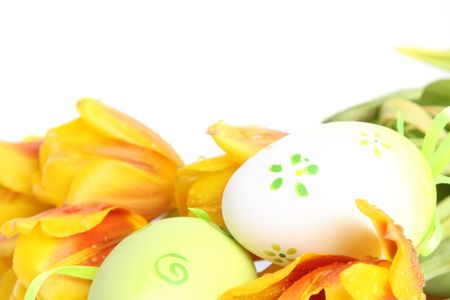 green easter eggs with orange tulips