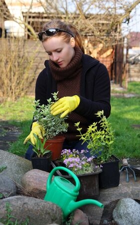 woman is working in garden photo