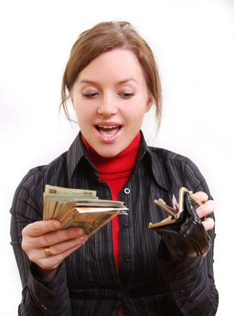 young pretty woman is giving money photo