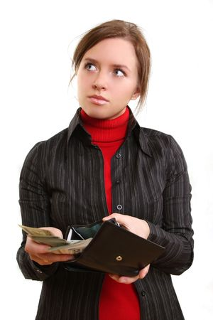 young pretty woman is giving money Stock Photo