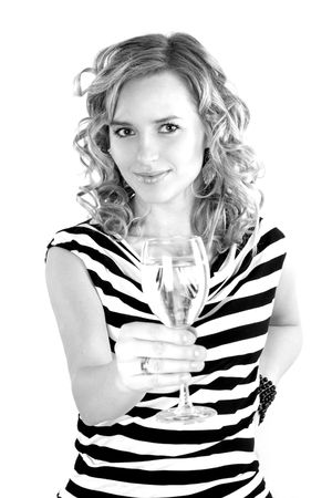 beautiful young girl is drinking champagne photo